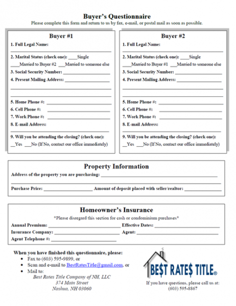 Best Rates Title Company of NH, LLC. : Buyer's Questionnaire